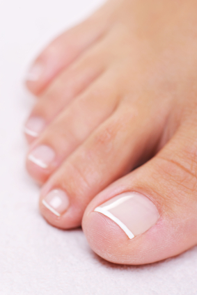well-groomed female foot with a french pedicure