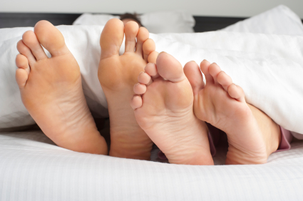 Couple feet poking out