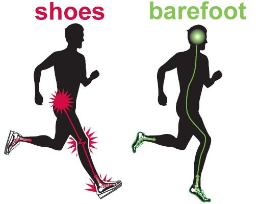 Running in shoes vs barefoot