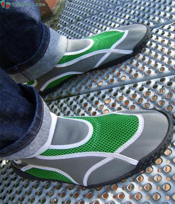Water shoes on feet